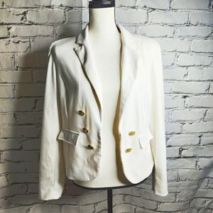 Kenar Women's White Blazer with Gold Buttons